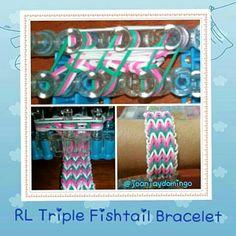 Triple Fishtail Bracelet Fishtail Bracelet, Rainbow Loom Bracelets, Loom Bands, Rubber Bands, Loom Bracelets