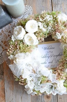 Wreath for front door for party Diy Flowers, Pretty Flowers, Fabric Flowers, Hydrangea Wreath, Floral Wreath, Japanese Florist, Wedding Welcome Board, Homemade Wreaths, Wreaths And Garlands