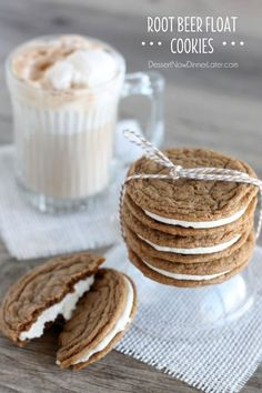 Root Beer Float Cookies - a favorite summer treat, transformed into one sandwich cookie. | DessertNowDinnerLater.com #rootbeer #rootbeerfloat #cookies