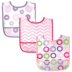 Luvable Friends PEVA Bib 3 Pack is ideal for preventing meal-time messes! Water-proof, phthalate-free PEVA helps keep baby's clothes clean, and the pocket catches crumbs for easy clean-up! These bibs feature bright, fun patterns. Available in multiple designs.
