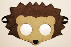 Hedgehog felt mask  brown  childrens animal costume  от FeltFamily