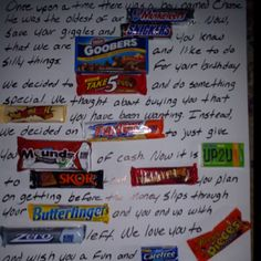 Candy bar card for our son's 18th birthday. Pinterest inspired!