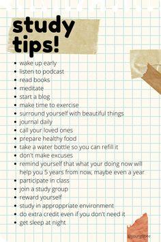 Exam Study Tips, School Study Tips, Study Skills, Study Habits, School Tips, High School Hacks, Life Hacks For School, Vie Motivation, Study Motivation Quotes