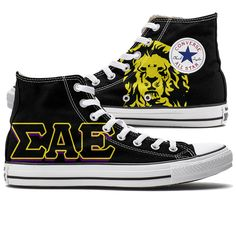 SAE Converse High Top Black and Yellow Converse – Tready  Shoes   #ΣΑΕ #SAE #sigmaalphaepsilon