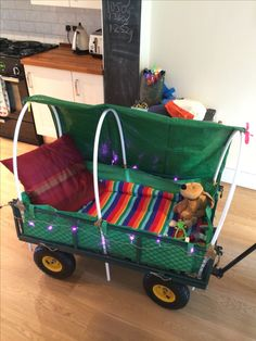 Latitude festival wagon. Fairy lights and ready for rain.