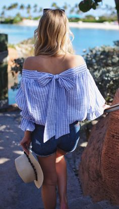 Sometimes your daily style needs a chic shoulder to lean on! Pastel Blue Stripes Off-shoulder Top with Bowknot featured by katiesbliss Blog