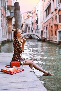 Pizza, Love & Lemons   Venice. Black cherry print dress+blush black straps ballerinas+red chain shoulder bag. Spring Casual Outfit 2017