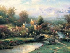 Thomas Kinkade Lamplight Village painting is shipped worldwide,including stretched canvas and framed art.This Thomas Kinkade Lamplight Village painting is available at custom size. Thomas Kinkade Art, Kinkade Paintings, Oil Paintings, Nature Paintings, Thomas Kincaid, Art Thomas, Beautiful Paintings, Amazing Art, Fine Art