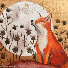 water colour art work of a small fox in a decollate land scape. A beautiful golden background with a large moon as white as snow. Words by Bruce Springsteen.