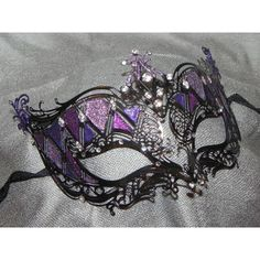 Shades of Purple and Black Metallic Masquerade Mask ($75) via Polyvore