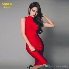 2016 Spring New Ol Slim High Collar Dress Bag Hip Long Bandage Dress Ladies Sleeveless Elegant Red Bandage Dress Yellow Dress Ball Gowns From Cococlothing, $57.97| Dhgate.Com