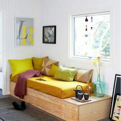 Nice DIY seating/bed/storage. Could make a good stage for kids too. boligliv.dk