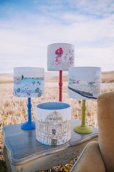 Lampshades on location. Marna lunt textiles.