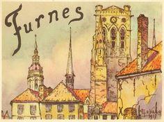 VEURNE / FURNES, tekening van Georges LEBACQ (1876-1950)