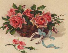 German postcard - Bouquet of roses, painting, new year flower card - Antique romantic fine art floral postcard - 1920 (B783)