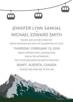 Banff Mountain Gondola Wedding Invite  by PinkUmbrellaInvites, $3.90  #Wedding #Invitations #Invites