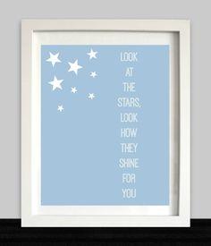 Look at the Stars Print, Baby Nursery Wall Art, Nursery Decor, Song Lyric Print