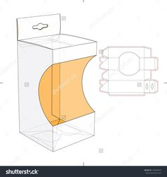Box With Shelf Hanging Holes And Die Cut Layout Stock Vector Illustration 190446470 : Shutterstock