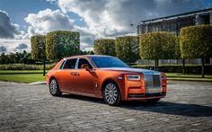 Herunterladen hintergrundbild 4k, rolls-royce phantom ewb, 2017 autos, tuning, orange phantom, rolls-royce