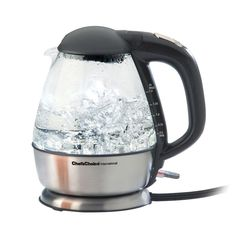 Cordless Electric Glass Kettle, Glass And Stainless Steel Construction. Black Handle