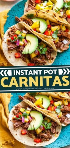 Learn how to make the BEST Instant Pot Carnitas! This Game Day food recipe features an incredible blend of spices with a hint of sweetness. This Mexican dish is a juicy, tender, and crispy addition to your Game Day snacks! Pin this recipe. Mexican Dishes, Mexican Food Recipes, Ethnic Recipes, Paleo Recipes, Yummy Recipes, Best Pressure Cooker, Pressure Cooker Recipes, Slow Cooker, Quesadillas