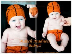 Basketball Hat and Diaper Cover Crochet Pattern by DarlingDerriere,