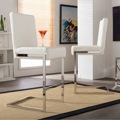 Baxton Studio Set of 2 Boyle Contemporary White PU Leather Upholstered Armless Bar Stools With Stainless Steel Base (Bar Stool-White) White Leather Bar Stools, White Bar Stools, Leather Counter Stools, Modern Bar Stools, Upholstered Bar Stools, Dining Room Bar, Dining Table, White Cushions, Bar Furniture