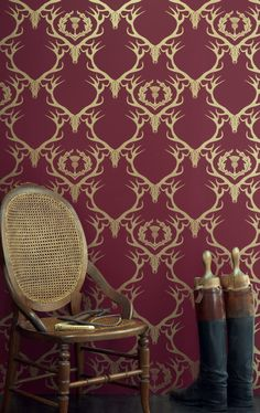 Deer Damask - a favourite Barneby Gates wallpaper. Deep raspberry red wallpaper with gold stag head and antlers with thistle design. Hirsch Wallpaper, Stag Wallpaper, Thistle Wallpaper, Quirky Wallpaper, Beautiful Wallpaper, Custom Wallpaper, Closet Wallpaper, Gothic Wallpaper, Stunning Wallpapers