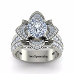 A Museum 14K White Gold Floral 3.42CT Black Moissanite Round Cut Ring