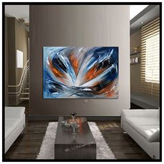 LARGE ARTWORK Oil PAINTING Orange Blue abstract di largeartwork