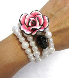 Day of the Dead Bracelet Sugar Skull Cuff Wrap by sweetie2sweetie, $24.99