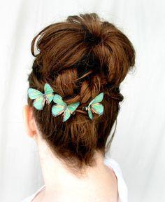 three handmade emerald green silk butterfly hair clips . emerald gypsies . pure dupioni silk, $17.00