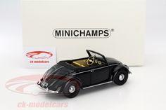 CK-Modelcars - 107054232: Volkswagen VW Beetle Convertible Hebmüller Year 1949 black 1:18 Minichamps, EAN 4012138129221