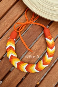 Orange Yellow Ombre Sunset Bib Braided Necklace   por Borgica