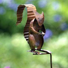 Copper garden sculpture | Copper Owl Sculpture, Metal Owl Garden Sculptures, Flamed Copper ...