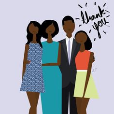 Obama family minimalist painting Thank You 2017 Black Love Art, Black Girl Art, Black Is Beautiful, American Illustration, Woman Illustration, African Girl, African American Art, Blessed Family, Natural Hair Art