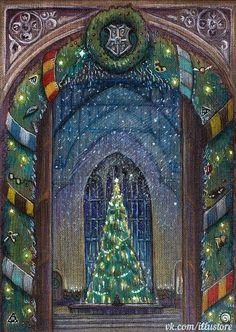 Harry Potter Christmas Hogwarts Christmas Christmas Door Christmas Cards Blue Christmas