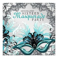 Sweet Sixteen Masquerade Party Invitations