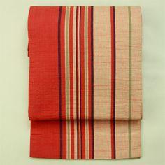 Red, randum stripe, zentsu kyou fukuro obi / 赤系 ランダムな縞柄 全通