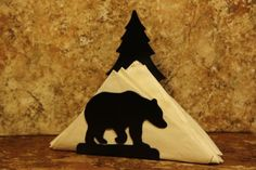 Bear Tree Napkin Holder Bear Tree Letter Holder by SweeneyRidge Metal Art, Wood Art, Cnc Plasma Table, Running Bear, Laser Cutter Projects, Letter Holder, Camping Gifts, Scroll Saw, Wood Crafts