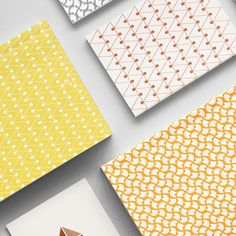 Dash print layflat notebook in leaf green | dash print pocket notebook in copper | curve print layflat notebook in cadmium yellow @topdrawerlondon #newcollection #pattern #print #simple by ola_studio