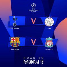 Uefa Champions League - Semi - Finals first Legs - Tottenham Hotspurs vs. Champions League Semi Finals, Uefa Champions League, Manchester United, Manchester City, Graphic Score, Fcb Barcelona, Digital Board, Afc Ajax, Fc Liverpool