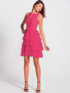 Pin to Win a Wedding Gown or 5 Bridesmaid Dresses! Simply pin your favorite dresses on www.forherandforhim.com to join the contest! | Ruffled Peep Neck Dress $179.99