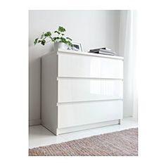 MALM Kommode mit 3 Schubladen, weiß, Hochglanz - 80x78 cm - IKEA