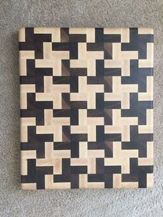 Handmade Butcher Block Cross Design End Grain by Legalwoodworks