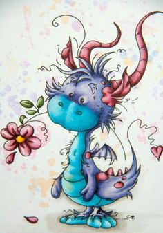 Tattoo dragon cute fairy art ideas for 2019 Aquarell Tattoos, Whimsy Stamps, Cute Dragons, Art Et Illustration, Happy Paintings, Dragon Art, Fairy Art, Whimsical Art, Fantasy Creatures