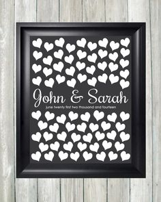 Wedding Guestbook Alternative Art Print, Custom Wedding Guest Book Poster, Signature Heart Wedding Guestbook, 75 Guests, Bridal Shower Gift, Unique Wedding Guestbook by CaldsonDesigns, $38.00