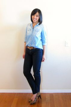 denim shirt with black jeans, leopard shoes