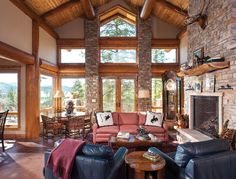 Handcrafted Post and Beam Great Room in Colorado.  Based on the Popular Truckee Design Concept by PrecisionCraft.