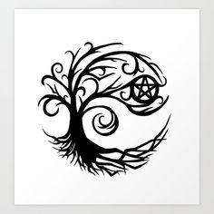 Pentacle Tree Art Print by imphavokimpressions Pentacle Tattoo, Wicca Tattoo, Witchcraft Tattoos, Wiccan Art, Wiccan Symbols, Celtic Symbols, Wiccan Crafts, Egyptian Symbols, Ancient Symbols